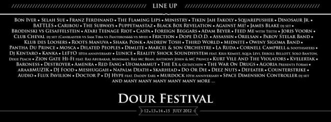 Line Up de Dour Festival